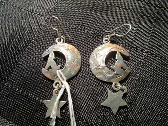 925 Mexico TC-ITO Howling Wolf/Moon/Star Earrings
