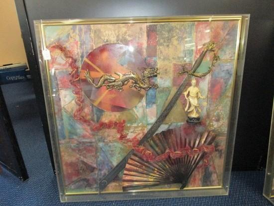 Asian/Chinese Motif Shadowbox w/ Uyghur Sword, Fan, Brass Dragon, Ceramic Figure