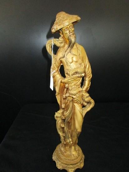 Asian Wise Man Figurine Gilted w/ Phoenix Birds Curled Motif Base