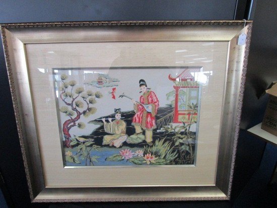 Asian Motif/Design Girl/Boy Scene Water Color Signed Beauinant