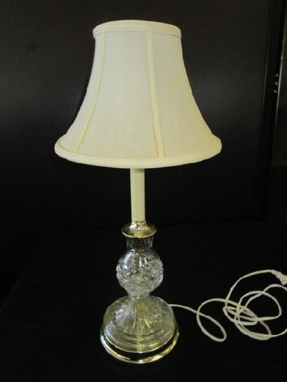 Crystal Glass Body Scalloped/Diamond Cut Wide Body Base Lamp