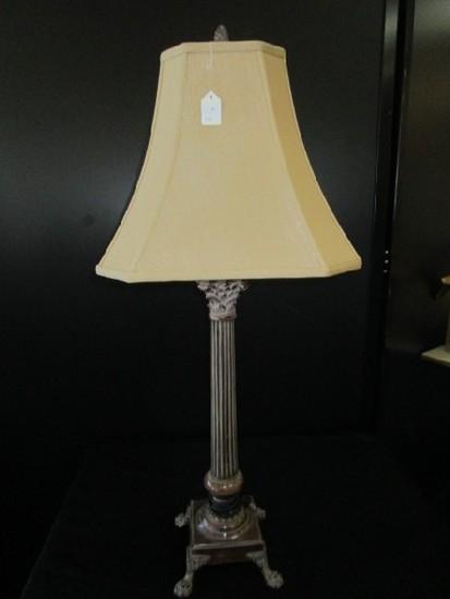 Antique Patina Column Design, Paw Feet, Pineapple Top Lamp, Shade w/ Pineapple Top