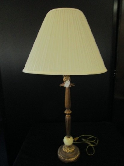 Antique Brass Design Beaded/Scalloped Lamp, Leaf Top, Amber/Marble Orb Base