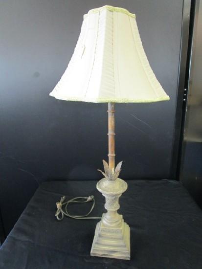 Antique Patina Lattice Design Lamp Acanthus Leaf Base w/ Shade
