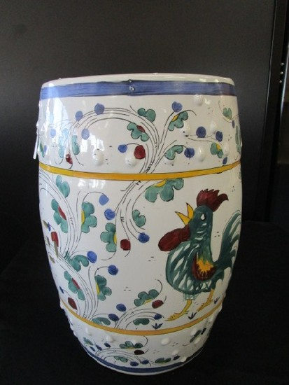 Large Chinoiserie Style Ceramic Décor, Pierced Motif, Blue/Yellow/Green Design