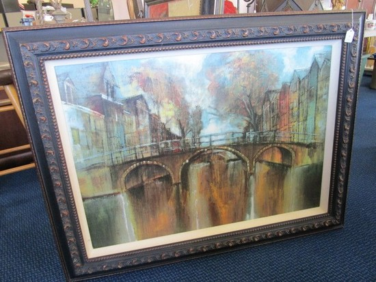Large Oil on Canvas Giclee Print River Scene in Wooden Red/Black Patina
