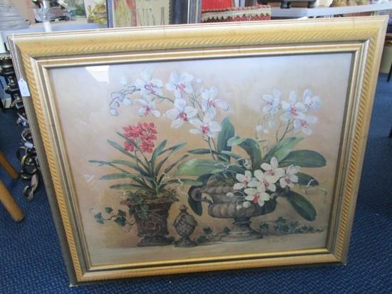 Flowers in Planters Prints Banbarer Moch Artist Signed in Gilted Rope Trim Wood Frame/Matt