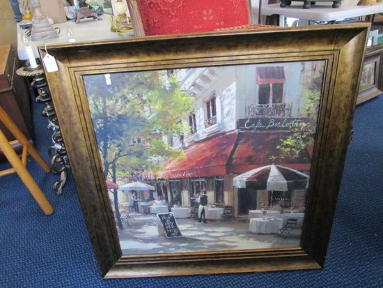 French Café Corner Scene Print in Antiqued Patina Wood Frame/Matt