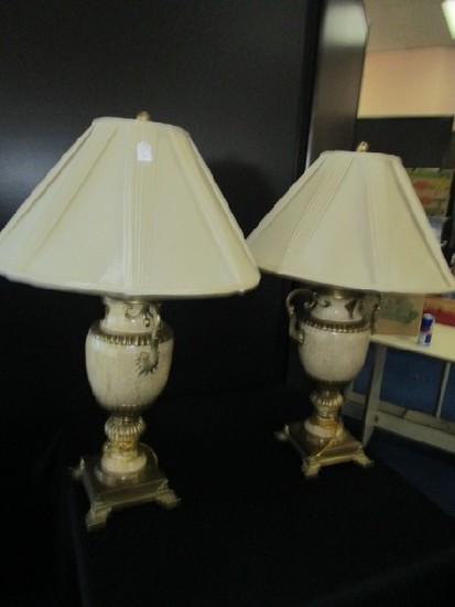 Pair - Grecian Urn Design Lamps Craqulure/Cream Ceramic Body, Brass Scalloped