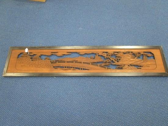 Japanese Castle Wood Carved Scene in Black Wood Frame