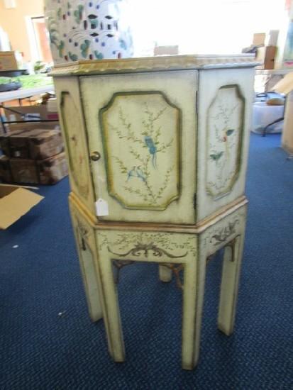 Antique Design Corner Wood Side Table, 1 Hutch Doors, 4 Legs, Curled Stretchers