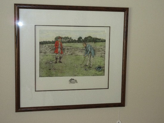 Hand Colored Engraving Early Golfers on Putting Green w/ Water Mark in Oak Dark Stain