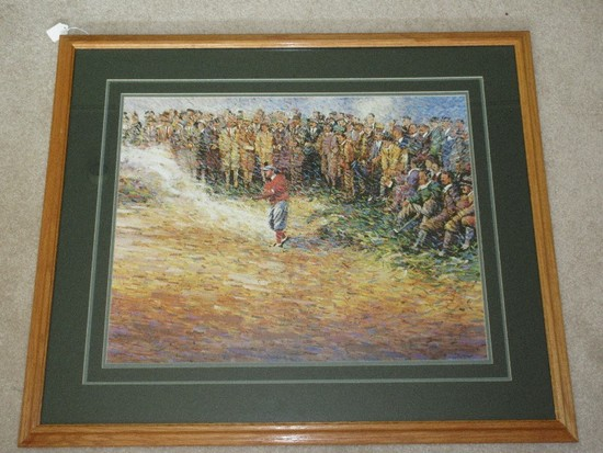 Impressionism Golfer in Sand Trap w/ On Lookers Scene Print in Natural Oak Finish Frame/Matt