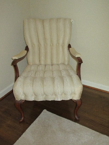 Occasional Arm Chair w/ Tufted Channel Upholstery, Padded Arm Rest, Mahogany Trim