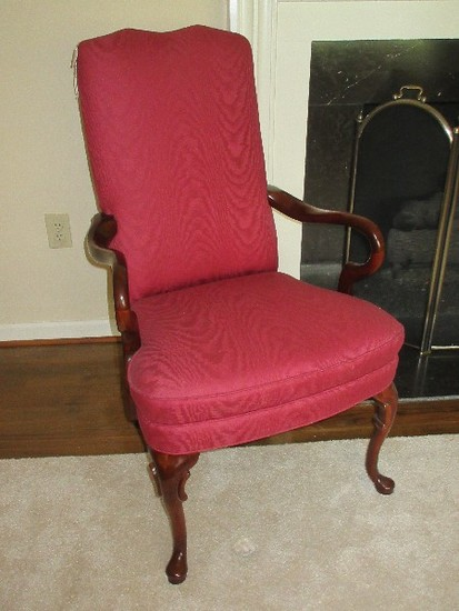 Queen Anne Style Shepherd's Crook Arm Chair on Cabriole Leg & Mahogany Trim