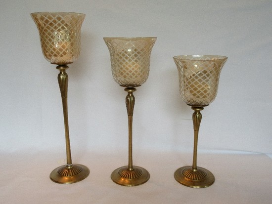 Set - 3 Graduating Height Brass Lacquer Finish Votive Candle Holders