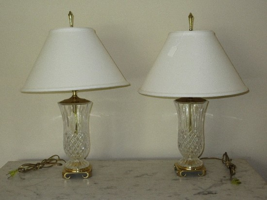 Pair - Lead Crystal Vase Form Table Lamps Diamond Pattern on Brass Chinoiserie Base