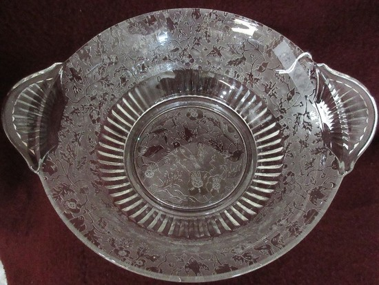 Depression Glass Heavily Etched Birds & Flowering Vine Foliate Design Footed Bowl
