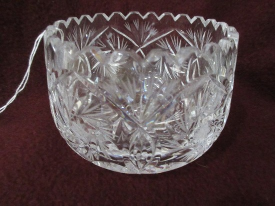 Elegant Lead Crystal Bowl Etched Hobstar Pattern w/ Slightly Tapered Rim