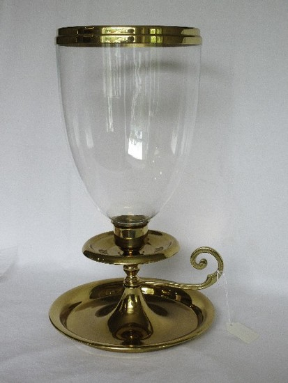 Virginia Metal Crafted Brass Colony Style Chamber Candle Stick w/ Glass Shade