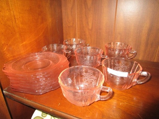 """Rose Depression Glass 7 Saucers, 6 Cups 6"""" D"""