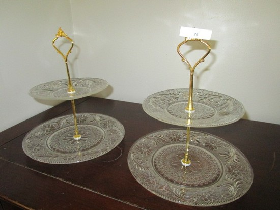 Pair - Pressed/Prescut Glass 2-Tier Cake Holders/Servers w/ Brass Handles