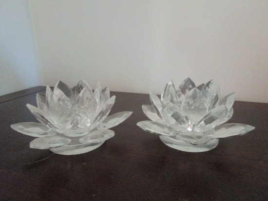 Pair - Glass Floral Design Candle Holders