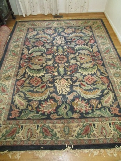 Blue Ornate Floral Pattern Floor Rug Hand Tufted 100% Wool Pile
