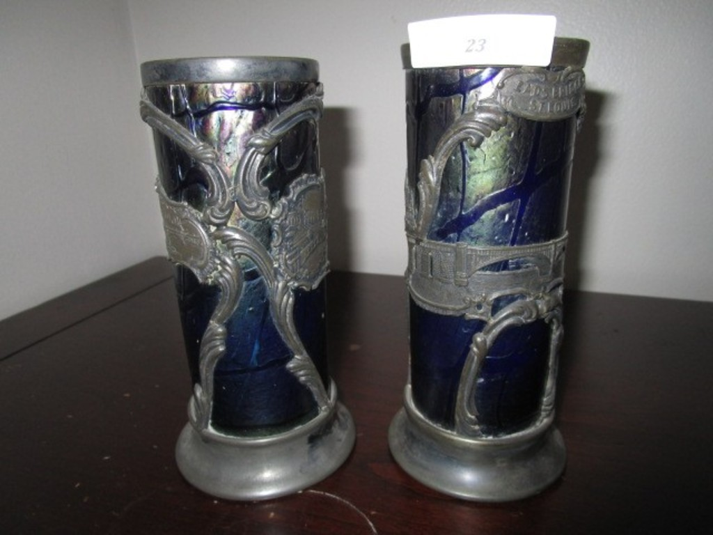 Pair - Blue Iridescent Glass Candle Holders w/ Silverplate St. Louis 1904/ Ornate Frame/Base