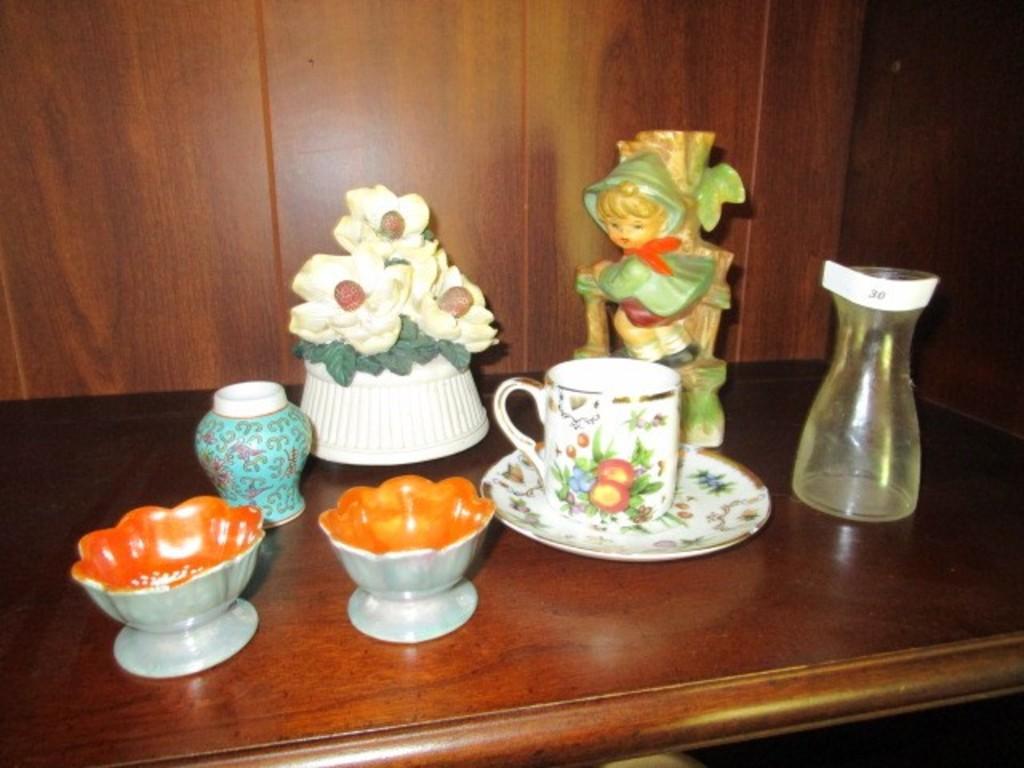 Décor Lot - Noritake Cups, Chase Ceramic Boy, Musical Flower Décor, Etc.