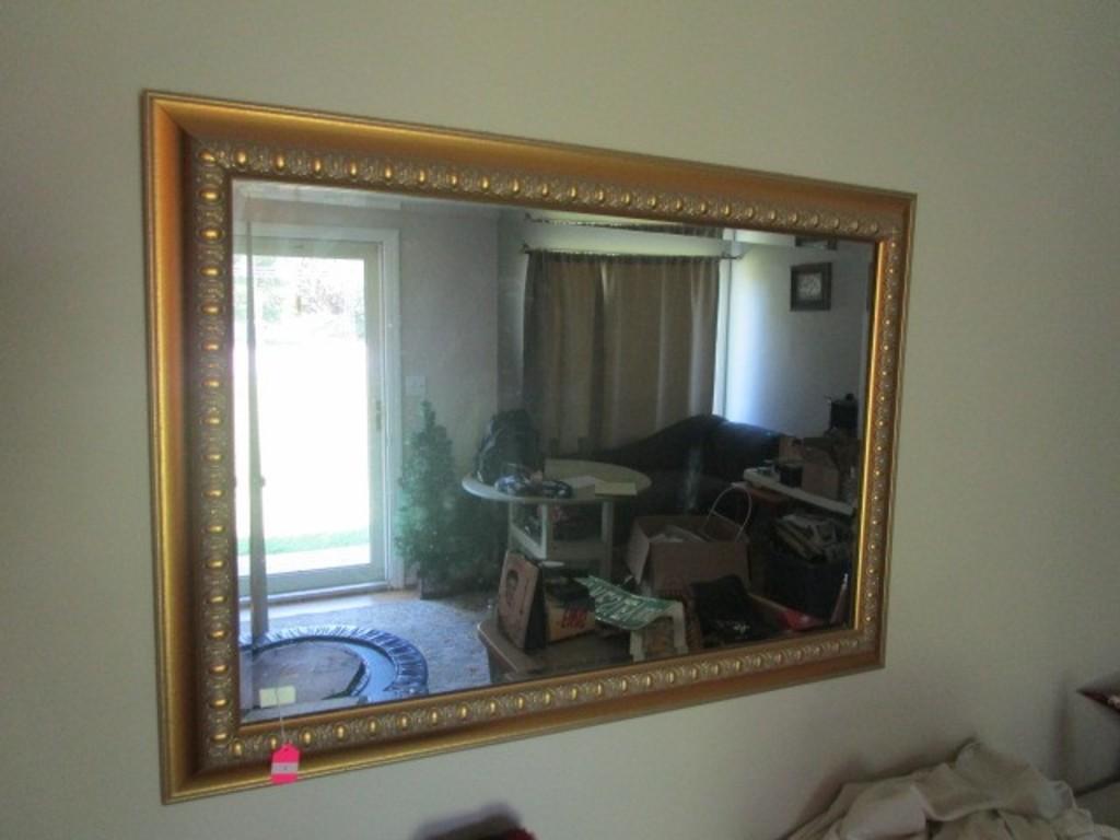 Wall Hanging Mirror in Gilted Ornate Fleur-De-lis Bead Trim Wood Frame