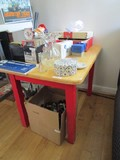 Wooden Side/Child's Table Unfinished Top, Red Legs