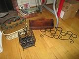 Misc. Décor Lot - Hanging Basket w/ Wicker Base, Wire Frame, Divided Basket, Black Metal