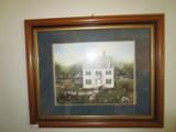 Vintage Colonial Scene Print in Wood Frame/Matt © Linda Nelson Stocks