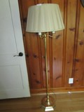 Standing Brass 3-Arm Torchiere Lamp w/ Shade, Spindle Base, Ring Top