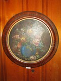 Hand Painted Oil on Wood Vase w/ Flowers in Wood Round Frame