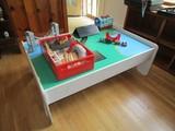 White Wooden Play Table w/ Read/Lake Scene w/ Sodor Train Station/Trucks, Etc.