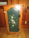 3-Tier Inlay Shelving Vintage Wooden Side Cabinet Painted Floral Front, Wood Pull, Bow Skirt