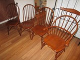 5 Wooden Dining Chairs Slat Backs Arched Top, Bow Front, Spindle Legs