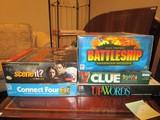 Lot - Board Games, Connect Four, Twilight Scene It, Electronic Battleship, Clue, Upwards