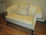 Cream Upholstered Couch Curled Arms, Wood Claw/Ball Feet, Rope Trim, Bow Back