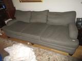 Alisa Sofa 3 Seat Grey Upholstered, Scalloped Wood Feet