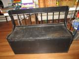 Black Wooden Vintage Bench Slat Back, Curled Sides w/ Removable Seat/Storage Compartment