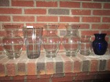 Glass Lot - 6 Glass Vases, 5 Wide Body-Narrow Neck-Wide Top, 1 Blue Glass