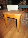 Lot - Wooden Vase Stand, White Wooden Step Stool, Wooden Tray w/ Wine Holder Base