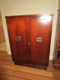 Wooden Side Cabinet w/ 3 Inlay Shelves, 1 Pull Out w/ Clasp, Oval Metal Pulls