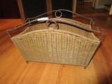 Wicker/Metal Curled Frame Basket