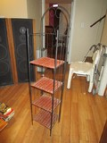 Black Metal Book Stand 4 Wicker Shelves w/ Heart Motif Arched Top