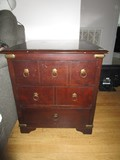 3 Drawer Wooden Side Table Brass Escutcheon, Pulls, Bracket Feet