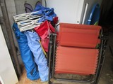 Lot - Folding Chairs, 1 Blue Child's Chair, 1 Brown Upholstered Recliner